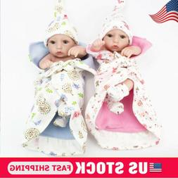 Lifelike Twins Baby Dolls Full Vinyl Silicone Real Life Doll