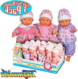 Toysmith Lil Newborn Mini Baby Dolls  Gift Set Bundle - 3 Pa