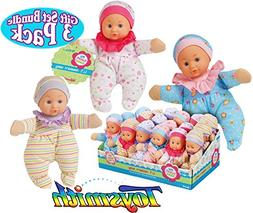 Toysmith Lil Newborn Soft Baby Dolls  Gift Set Bundle - 3 Pa