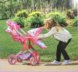 "LISSI DOLL DOUBLE STROLLER FITS 2 DOLLS UP TO 18""  MULTI-COL"