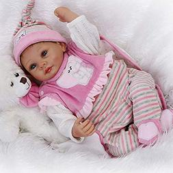 NPK Looks Real Reborn Baby Doll Toddler Pink Stripe Outfit G