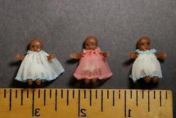 LOT 3 Vtg Dollhouse Miniature Baby DOLLS JACKIE BURTON NOS A