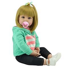 NPK Lovely Reborn Baby Girl Doll Golden Hair 22 Inch 55cm So