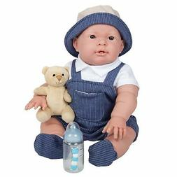 JC Toys, Lucas Baby Doll 18in All-Vinyl Real Boy - Overalls