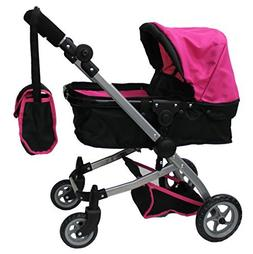 Babyboo Deluxe Doll Pram with Swiveling Wheels & Adjustable