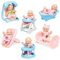 Best Choice Products Set of 6 Mini Baby Dolls Toy w/ Cradle,