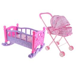 MagiDeal Mini Plastic Rocking Bed Cradle Baby Doll Stroller