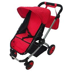 Modern Babyboo Doll Stroller Red Quilted Fabric- New Luxury