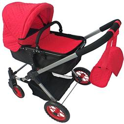 Modern Bassinet Doll Stroller -SUPERIOR QUALITY Red Quilted