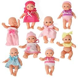 Mommy & Me Doll Collection Set of 8 Assorted Mini Dolls 5 In