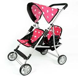My First Dolls Twin Stroller Cutest Heart Design Pink Color