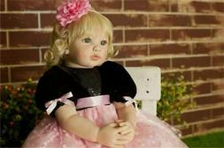 "NPK 24"" Reborn Baby Dolls Soft Cloth Body Toddler Girl Doll"