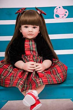 BZDOLL 60cm Silicone Reborn Baby Doll Toys 24inch Vinyl Prin