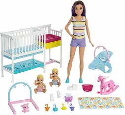 Barbie Nursery Playset with Skipper Babysitters Doll, 2 Baby
