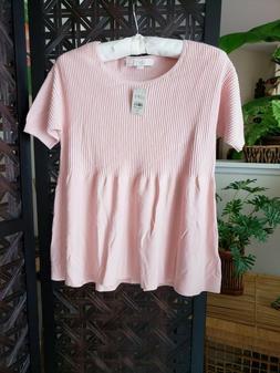 NWT ANN TAYLOR LOFT Pastel Pink Baby Doll Blouse Ribbed Knit