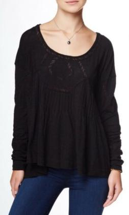 NWT Free People New Hope Baby Doll Top Shirt Blouse Lace Bla
