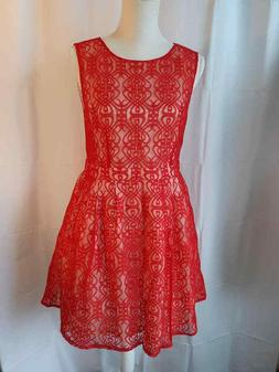 NWT ASOS Petite Size 12 RED LACE SLEEVELESS DRESS COCKTAIL P