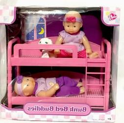 PINK BUNK BED BUDDIES TWIN BABY DOLLS Small Set Dollhouse Fu