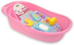 JC Toys 7-Piece Pink Baby Doll Bath Gift Set Fits Most Dolls