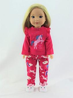 American Fashion World Hot Pink Unicorn Pajamas - Fits 14 In