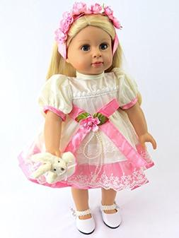 """Pink and White Flower Dress with Bunny -Fits 18"""" American Gi"""