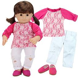 Sophia's Doll Clothes Pink and White 3 Piece Set of 15 Inch