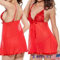 Plus Size Sexy Lingerie Women Lace Babydoll Sleepwear Dress