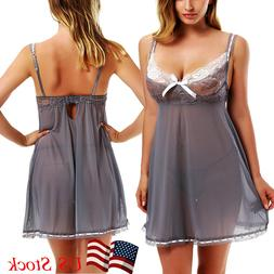 Plus Size Women Sexy Lingerie Underwear Sleepwear Lace Dress