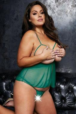 Plus Size Womens Lingerie Green Peek-a-boo Baby Doll Cupless
