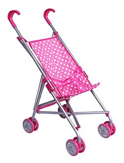 Precious Toys Pink&White Polka Dots Foldable Doll Stroller w