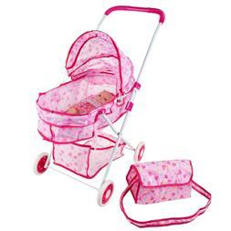 Pretend Play Baby Doll Carrier Stroller Basinet Diaper Bag C