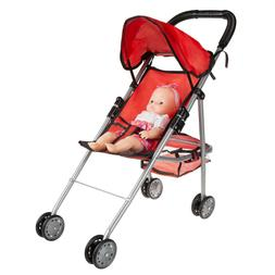 Pretend Play Small Baby Doll Stroller Folds Down Canopy Stor