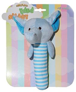 Calplush Baby Rattles Blue Elephant Plush Animal Toy