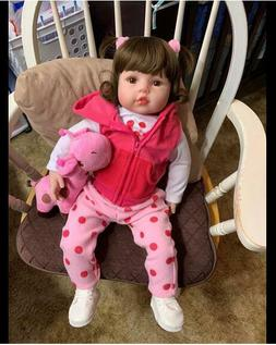 Real Look Pink Reborn Baby Dolls Toddler Girls with Accessor