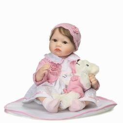 Real Looking Reborn Baby Dolls Silicone Girl Pink Outfit 22