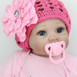 """Real Toddler Baby Girl Blue Eyes 22"""" Realistic Silicone Baby"""