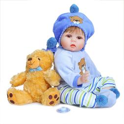 """Realistic Baby Doll Reborn Baby Dolls Boy Blue Outfit 22"""" To"""