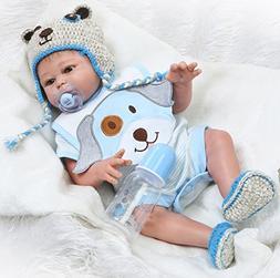NPK Realistic Reborn Baby Boy Dolls Silicone Full Body Eyes
