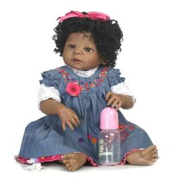 "Reborn African American Dolls 23"" Full Body Silicone Baby Bl"