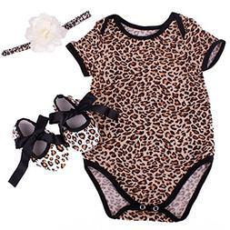 NPK collection Reborn Baby Doll Leopard Romper Clothes Set f