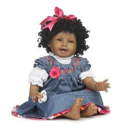 Reborn Doll in Soft Vinyl Silicone African Baby Doll that Lo