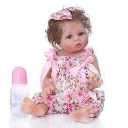 """Reborn Baby Dolls 18"""" Girl Full Body Vinyl Silicone Bath Was"""