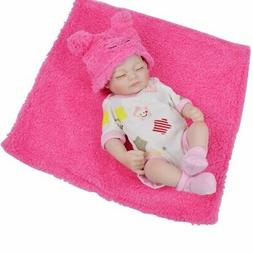 "Reborn Baby Dolls Sleeping Girl 10"" Full Vinyl Silicone Real"