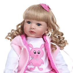 """Reborn Baby Dolls Weighted Cloth Body Toddler Girl Doll 24"""""""