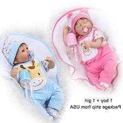 Reborn Baby Dolls16 inch Twin Dolls Weighted Cloth Body with