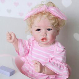 "Reborn Baby Girl Doll 22"" Lifelike Toddler Full Body Silicon"