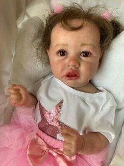 "Reborn Baby Girl Doll 22"" Toddler Full Body Silicone Vinyl B"