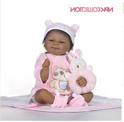 Reborn Baby Preemie 18'' Black Realistic Silicone for Girls