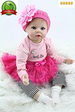 "Reborn Baby Doll Girl Realistic Silicone Vinyl 22"" Weighted"