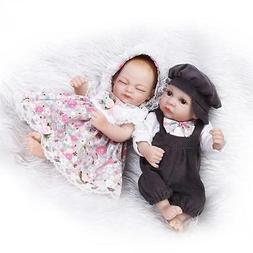 "Reborn Doll Twins 10"" Silicone Vinyl Gentle Touch Baby Dolls"